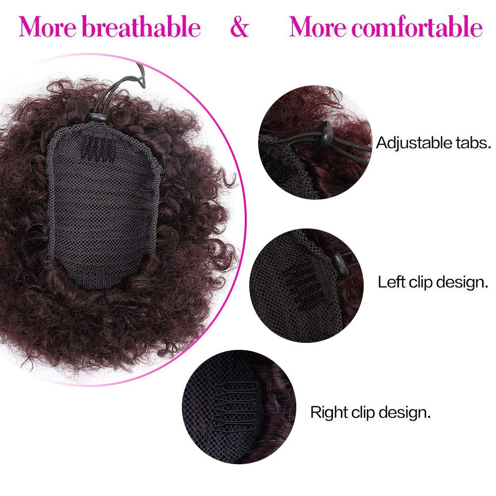 ForQueens High Puff Afro Ponytail Drawstring Short Afro Kinky Curly Pony Tail Clip in on Synthetic Curly Hair Bun Ponytail Wrap Updo Hair Extensions with 2 Clips(#99J) by ForQueens (Image #2)