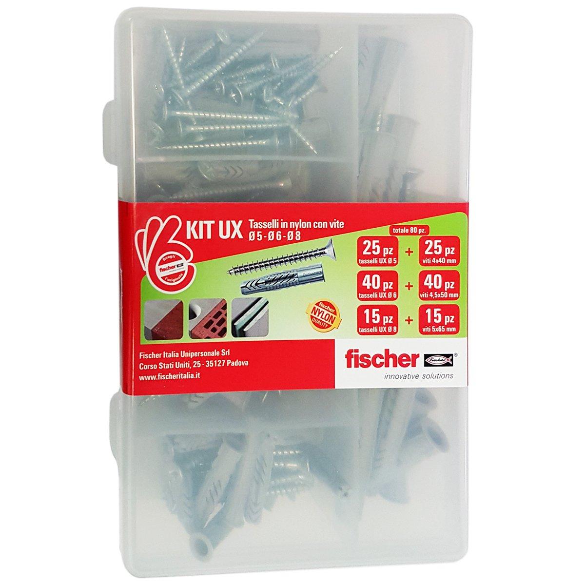Fischer KIT UX, 80 Tasselli con vite per Fissaggio su Muro pieno, Mattone forato, Cartongesso, 544257
