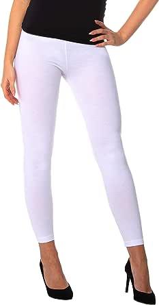 BeComfy Leggings para Mujer Opaco Polainas de Algodón Negro Gris Azul marino Bianco Grafito Azul Rosa Beige Violeta Verde 36,38,40,42,44,46,48,50,52,54,56