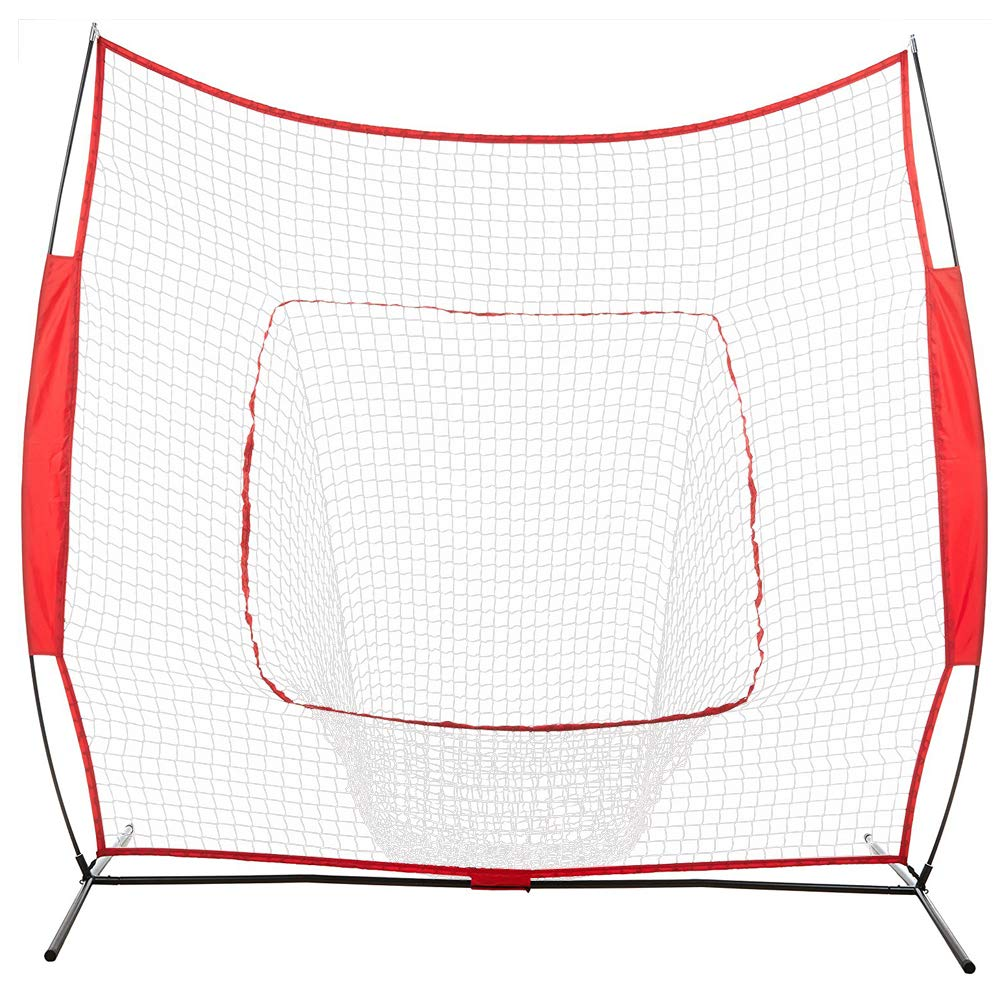 POCHDUDY Portable Baseball and Softball Hitting Net Practice Net with Stand,Baseball Train Net Baseball net with Strike Zone and Bow Frame,Baseball Rebound Goal Red Sleevelet by POCHDUDY