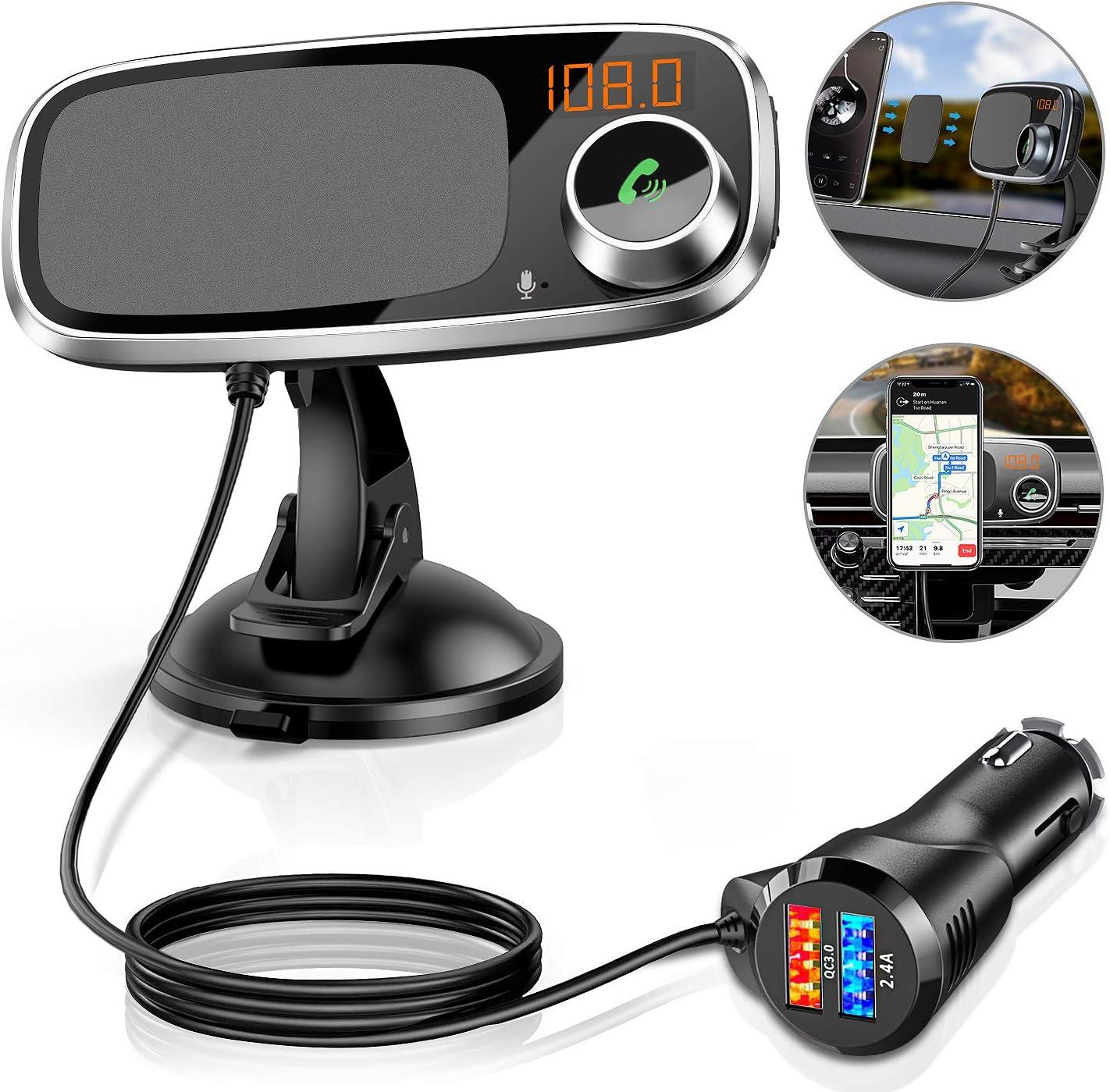 Transmisor FM Bluetooth con Soporte para teléfono, 3 en 1 Kit Bluetooth FM Adaptador de Radio para Vehículos Manos Libres, 2 Puertos USB QC3.0 Cargador rápido 5V / 2.4A, Girar 360 ° Negro