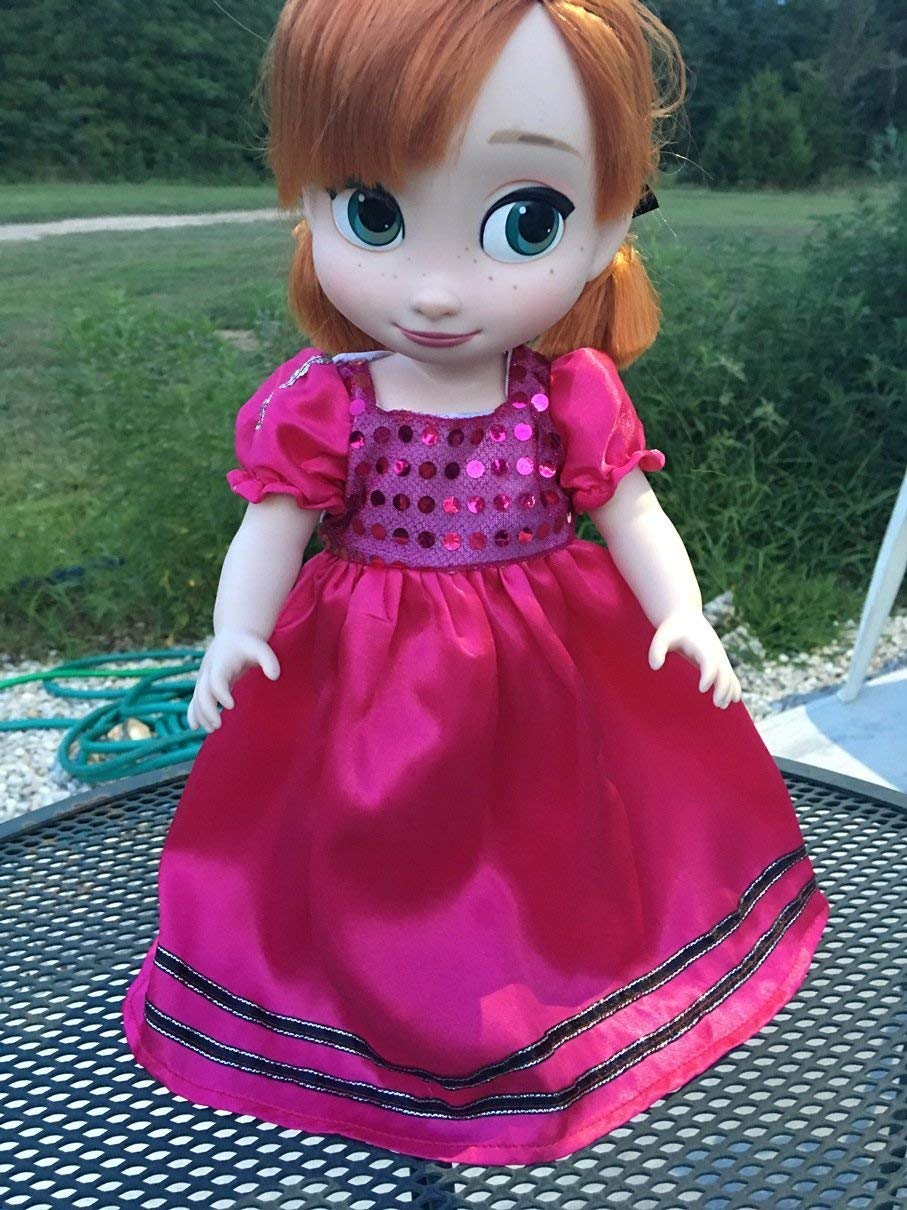 No doll Fits 16 inch Disney Animators Doll Clothes Princess Dress Sparkly Pink Handmade Dress