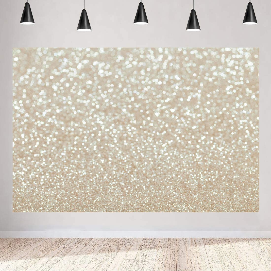 Aperturee 5x3ft Golden Glitter Christmas Abstract Backdrop Bokeh Shinning Sparkle Backgrounds for Photography Birthday Party Photo Booth Props