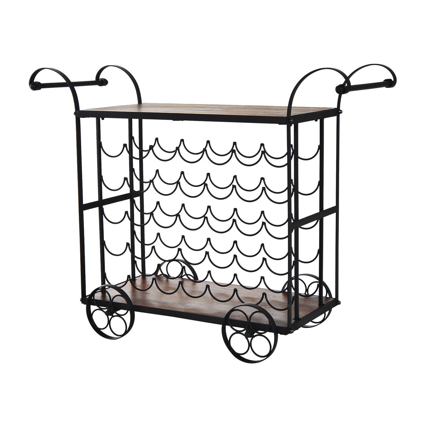 Steel - Wood Rolling Kitchen Wine Rack Trolley Cart 35 Bottle