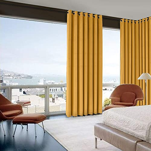 Prim Grommet Blackout Curtain Solid Velvet Curtain Extra Long Thermal Curtain Orange Room Darkening Window Drapes for Sliding Glass Patio Door, 120x96inch, 1 Panel