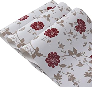 Yifely Red Peony Shelf Liner Self-Adhesive Furniture Paper Old Dresser Drawer Decor Sticker 17.7 Inch by 9.8 Feet