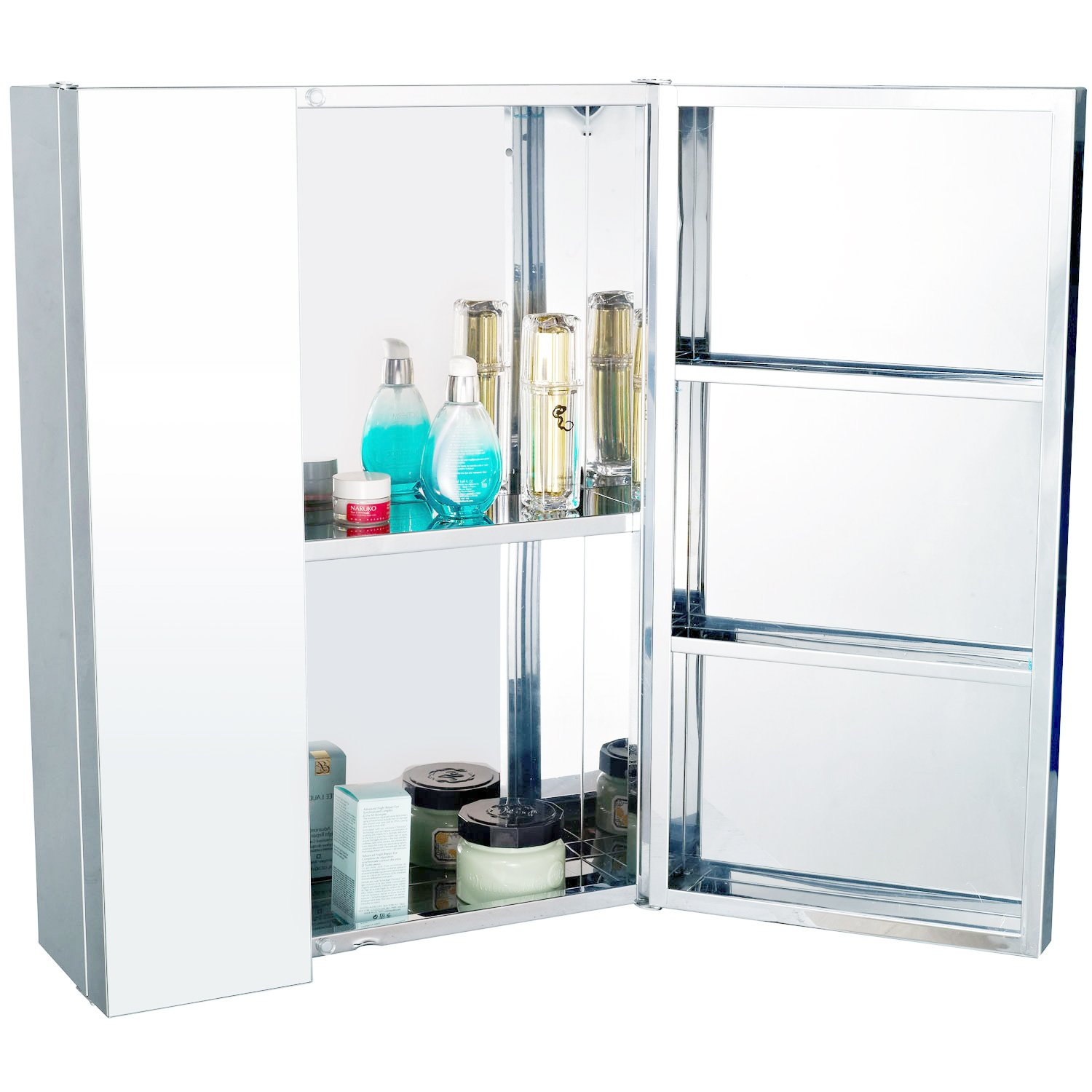 homcom stainless steel wall mounted bathroom mirror storage cabinet double doors 430mm w