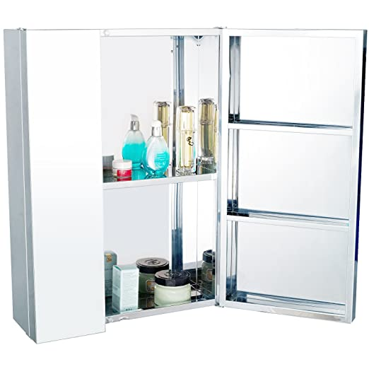 Homcom Stainless Steel Wall Mounted Bathroom Mirror Storage Cabinet