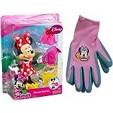 """Garden Minnie Mouse Figure & Gardening Gloves Pack / 5"""" Disney Minnie Figurine Flower Garden Bowtique"""