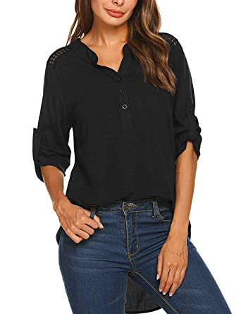 d90250a6b Zeagoo Women Cuffed Long Sleeve Blouse Comfy V Neck Loose Casual Button  Down Shirts (Black