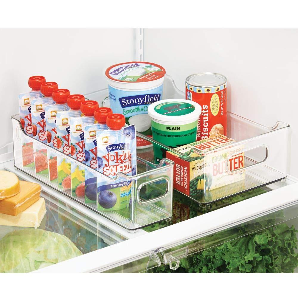 Contenitore per Alimenti freschi o confezionati Ideale Come Contenitore frigo o per dispensa MetroDecor mDesign Set da 2 Contenitori per Frigorifero Trasparente