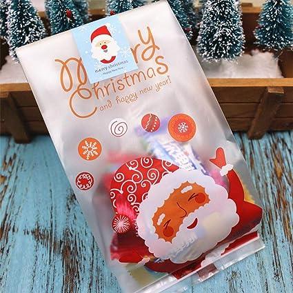 Christmas Cellophane Bags.Amazon Com 50 Pcs Christmas Cellophane Bags Cello Bag
