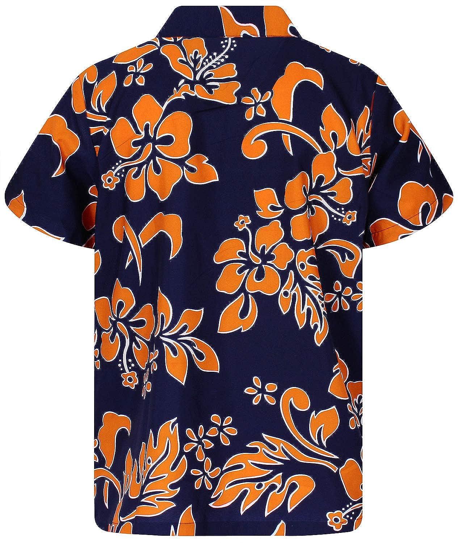 King Kameha Hawaiihemd Herren Funky Casual Kragen Brusttasche Unisex Kurzarm Hibiskus