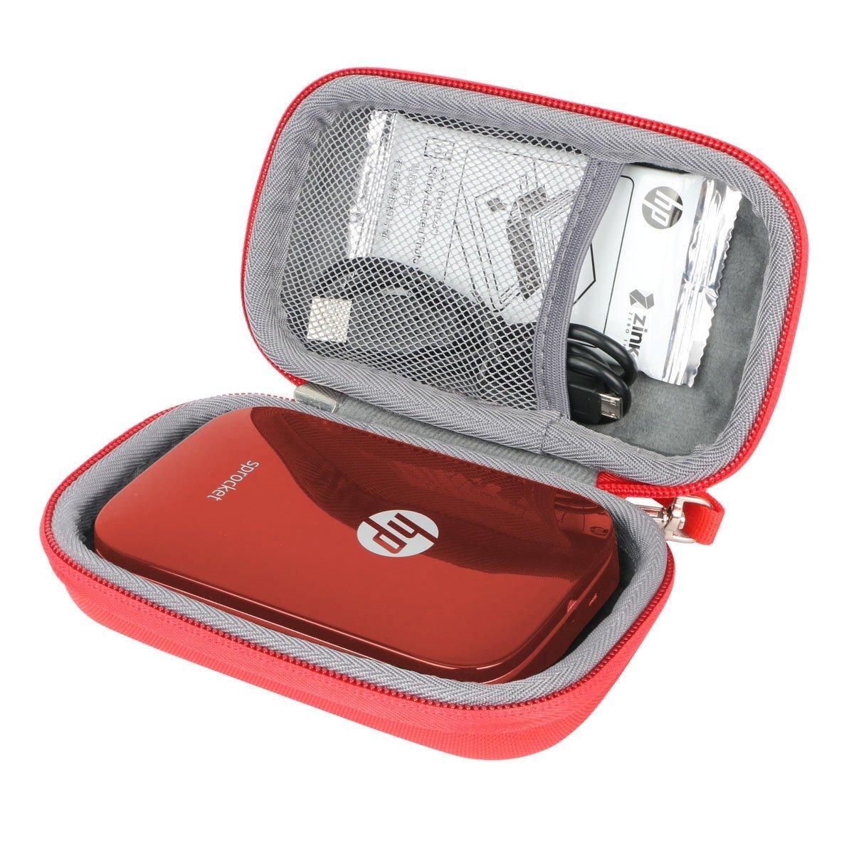 Duro Viajar Caso Cubrir para HP Sprocket - Impresora fotográfica portátil por co2CREA (Rojo)