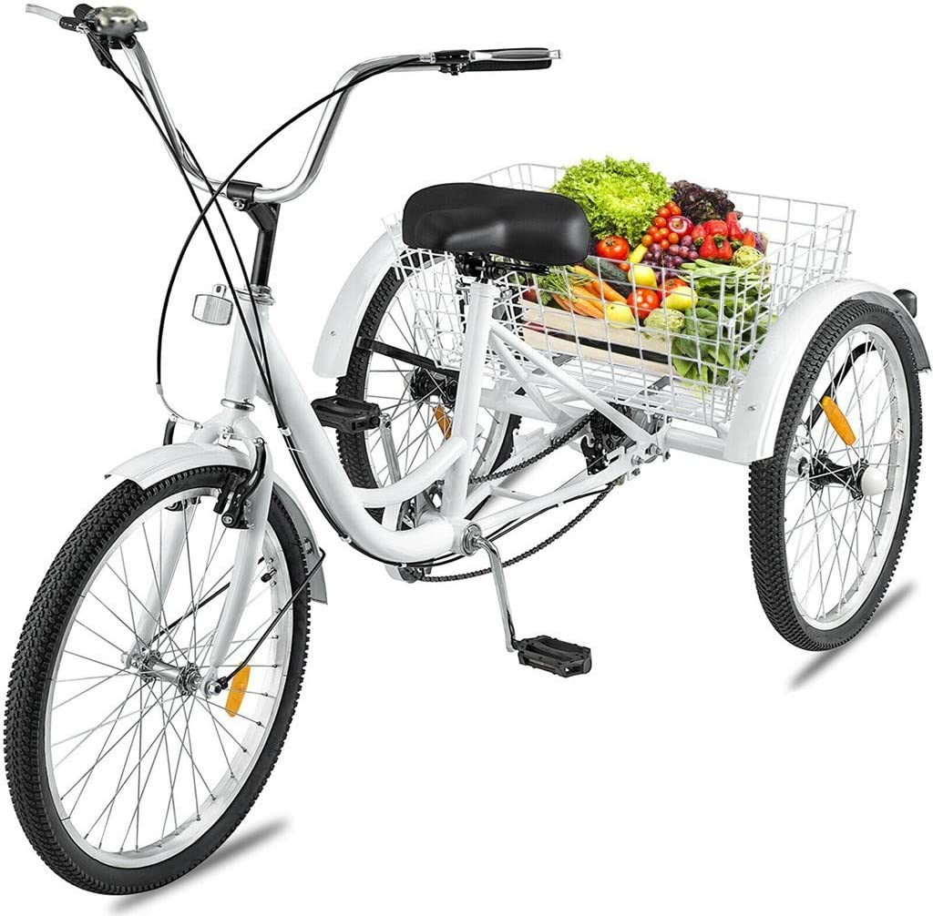 Shopping 24 inch Three-Wheeled Bicycles Cruise Trike with Shopping Basket for Recreation Adult Tricycles 7 Speed Exercise Mens Womens Bike Ljnuanrg Adult Trikes 3 Wheel Bikes