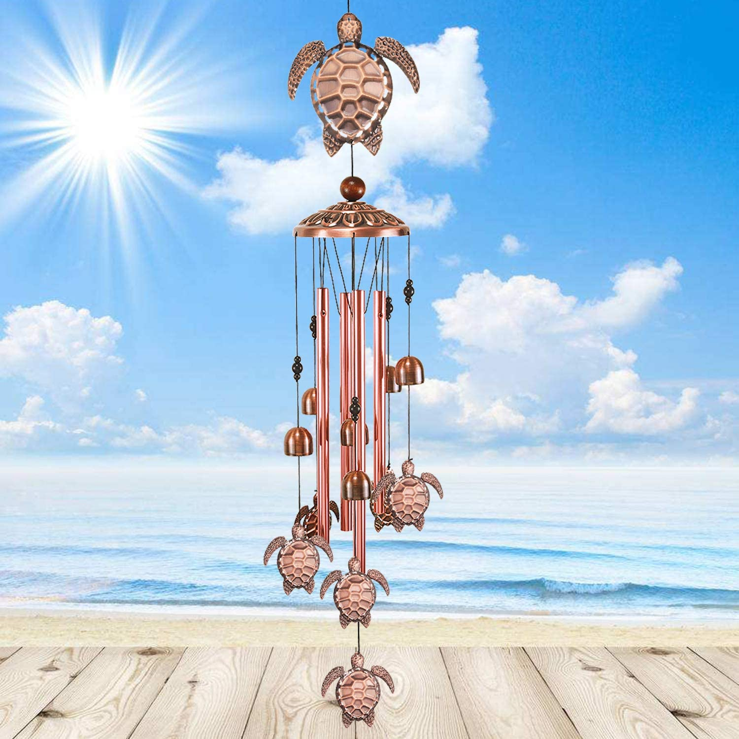 YMXBL Wind Chime Outdoor Turtle Wind Chimes Decoration, Tortoise Wind Bell Decor, Tortoise Windchimes With 4 Tubes & 6 Bells, Turtle Wind Catcher, Aluminum Chime, Garden Mobile Windchime, Gift for Mom