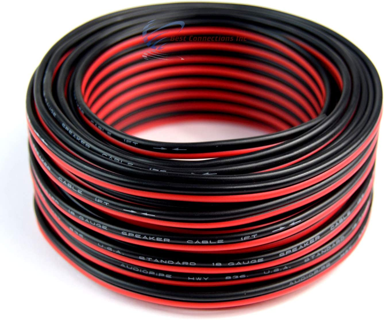 18 Gauge 100 Feet Red Black Speaker Wire Zip Cord Cable Copper Clad Aluminum