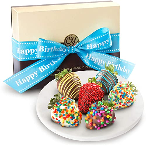 Golden State Fruit 6 Piece Happy Birthday Chocolate Covered Strawberries