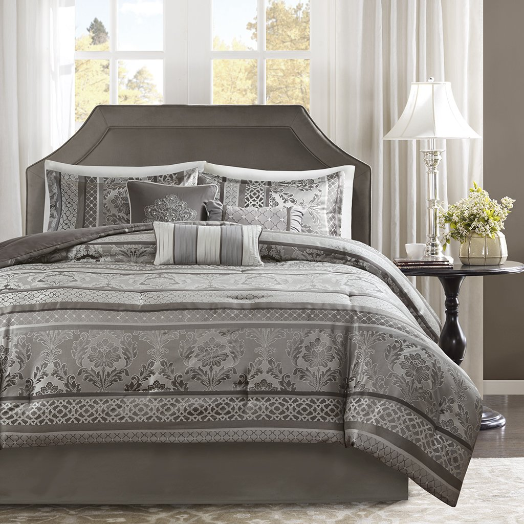 Madison Park Bellagio Queen Size Bag-Grey, Jacquard Damask – 7 Pieces Bedding Sets – Faux Silk Bedroom Comforters