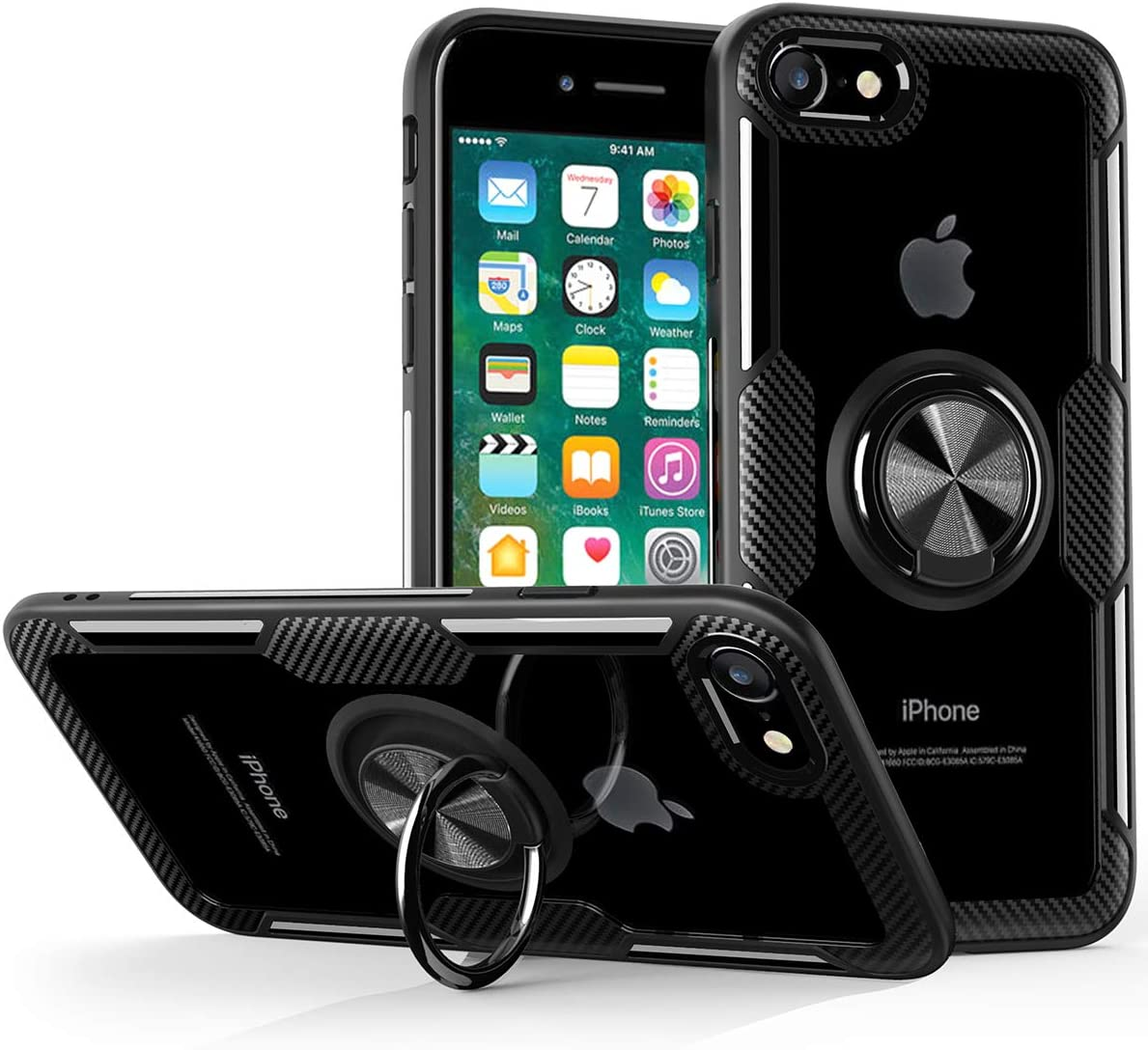 iPhone SE 2020 Case, iPhone 8 Case, iPhone 7 Case,Crystal Clear Carbon Fiber Design Armor Protective Case with 360 Degree Rotation Finger Ring Grip Holder Kickstand for Apple iPhoneSE 2/8/7,Black