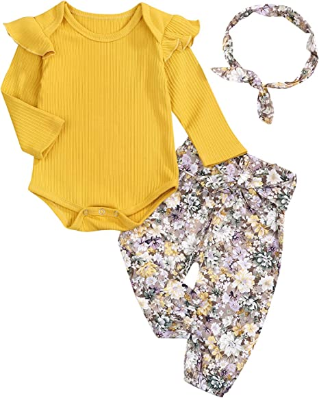 Floral Ruffle Short Sleeve Tops SANMIO 3PCS Newborn Toddler Baby Girl Clothes Outfits Pant Set with Headband