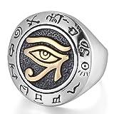 Mendino pour homme en acier inoxydable Bague ?il de HORUS égyptien Symbole de protection couleur or Argent poli avec 1x étui en velours