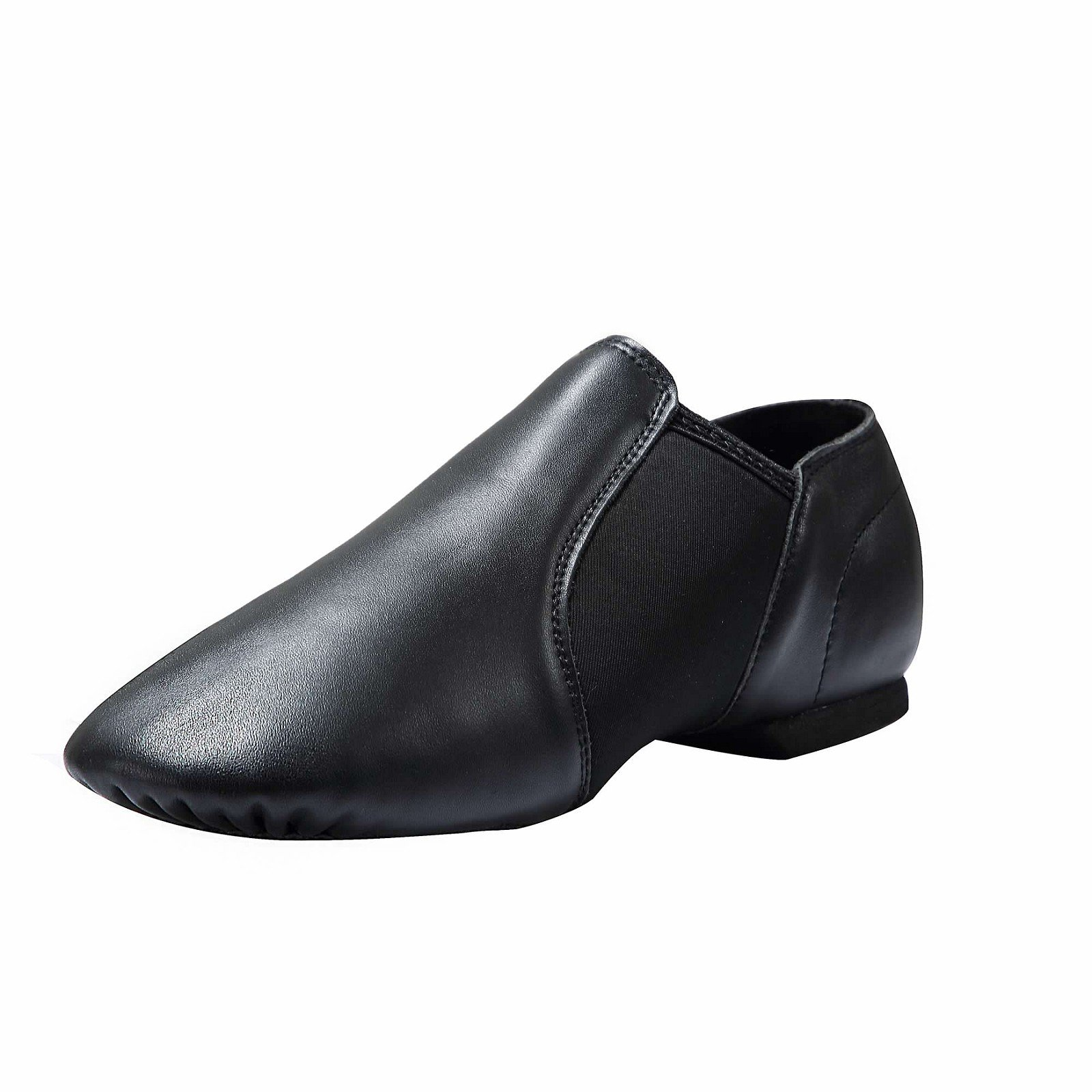 Dynadans Women's Leather Upper Slip-on Jazz Shoe Black 8.5M