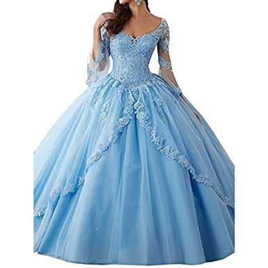 BridalAffair Classic Long Sleeve Lace Quinceanera Dresses Train V-Neck Ball Prom Gowns