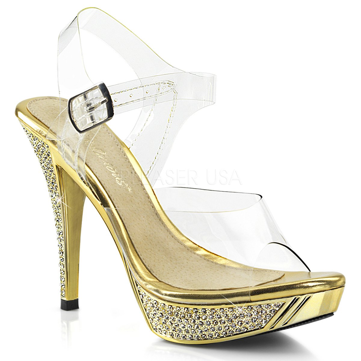 Fabulicious Women's Elegant 408 Dress Sandal B072L8C8Q3 5 B(M) US|Clr/Gold Chrome