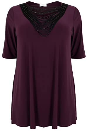 f7a5b8bc69f Yours Clothing Women s Plus Size Slinky Jersey Top with Beaded Necklace  Trim Size 16 Purple