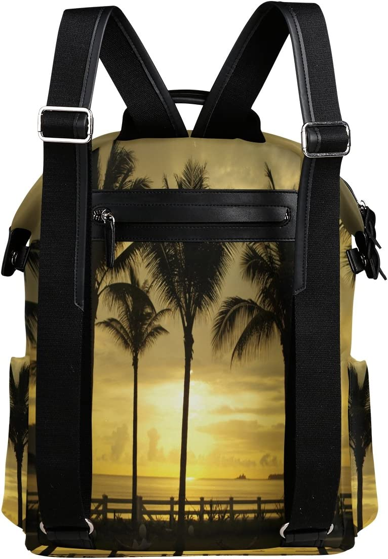 Laptop Backpack Lightweight Waterproof Travel Backpack Double Zipper Design with Palm Trees By The Sea School Bag Laptop Bookbag Daypack for Women Kids