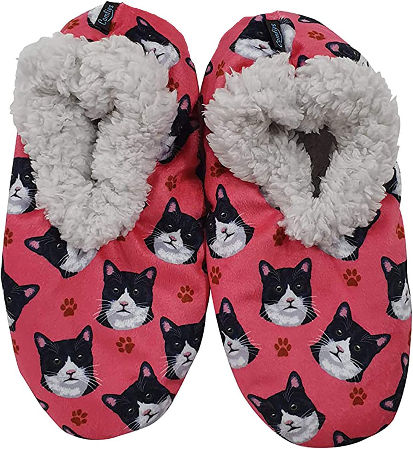 Black and White Cat Super Soft Women's Slippers - One Size Fits Most - Cozy House Slippers - Non Skid Bottom - perfect for Black and White Cat gifts