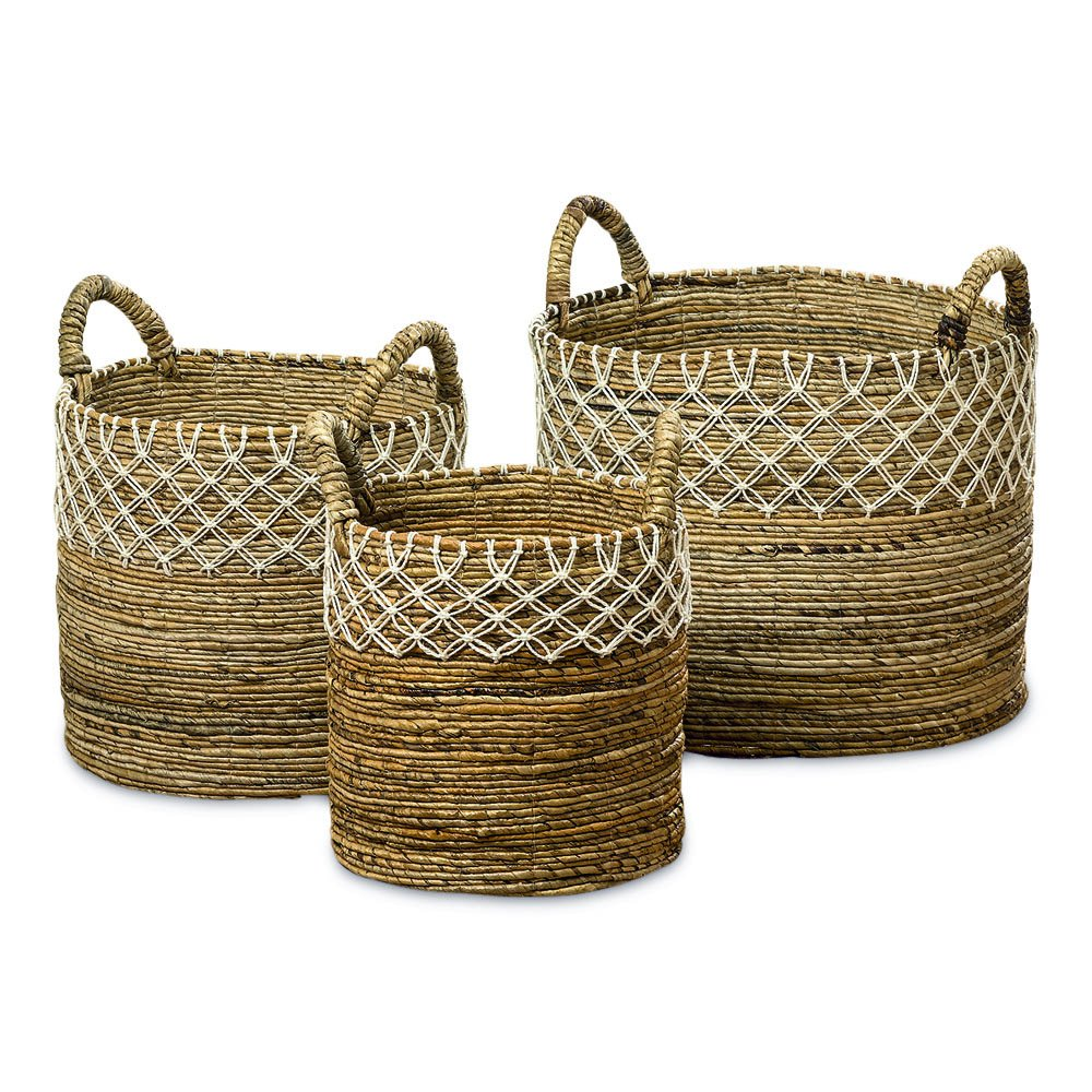The Romantic Hippy Chic Baskets, Set of 3, Cotton Macrame Lace Details, Relaxed Coastal Style, Woven Chunky Banana Leaf, Thick Handles,17 3/4, 15, and 11 3/4 D Inches, By Whole House Worlds