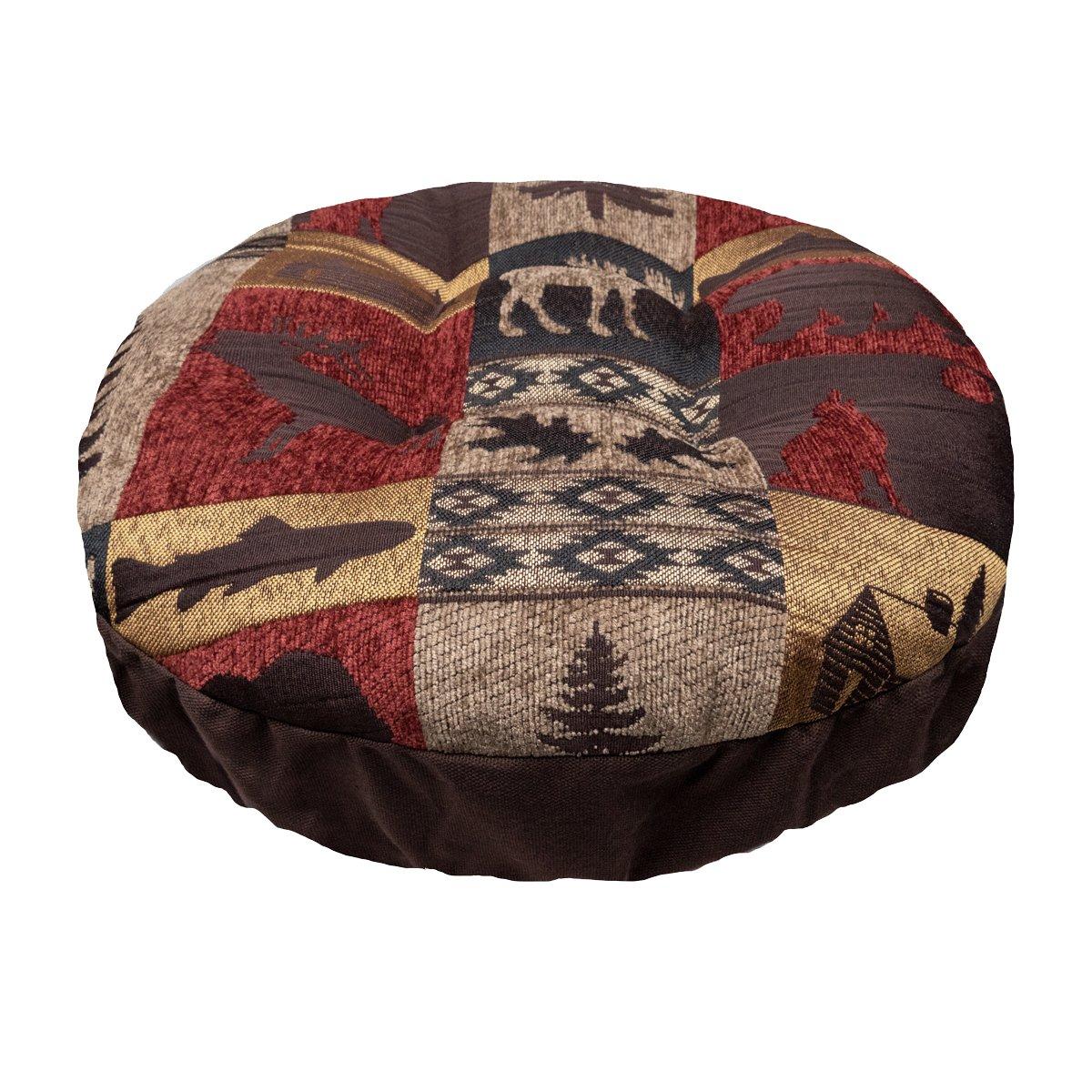バーネットラウンドパッド入りバースツールカバーひもで調節可能ヨーク – Woodlands Lodgeコレクション – ラテックスフォームFill Barstoolクッション – Made in USA 標準 レッド 標準 Fairbanks B07DP748PN