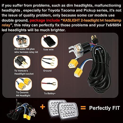 Amazon 2pcs 7x6 Led Headlights L W H4 Headlight Relay Harness Sealed Beam 6054 H6054 5x7: Fmc Wire Harness At Outingpk.com