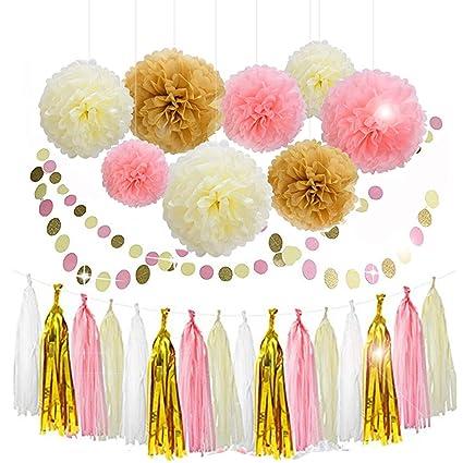 Pompón de papel de seda flores rosa oro blanco borla guirnalda para ...