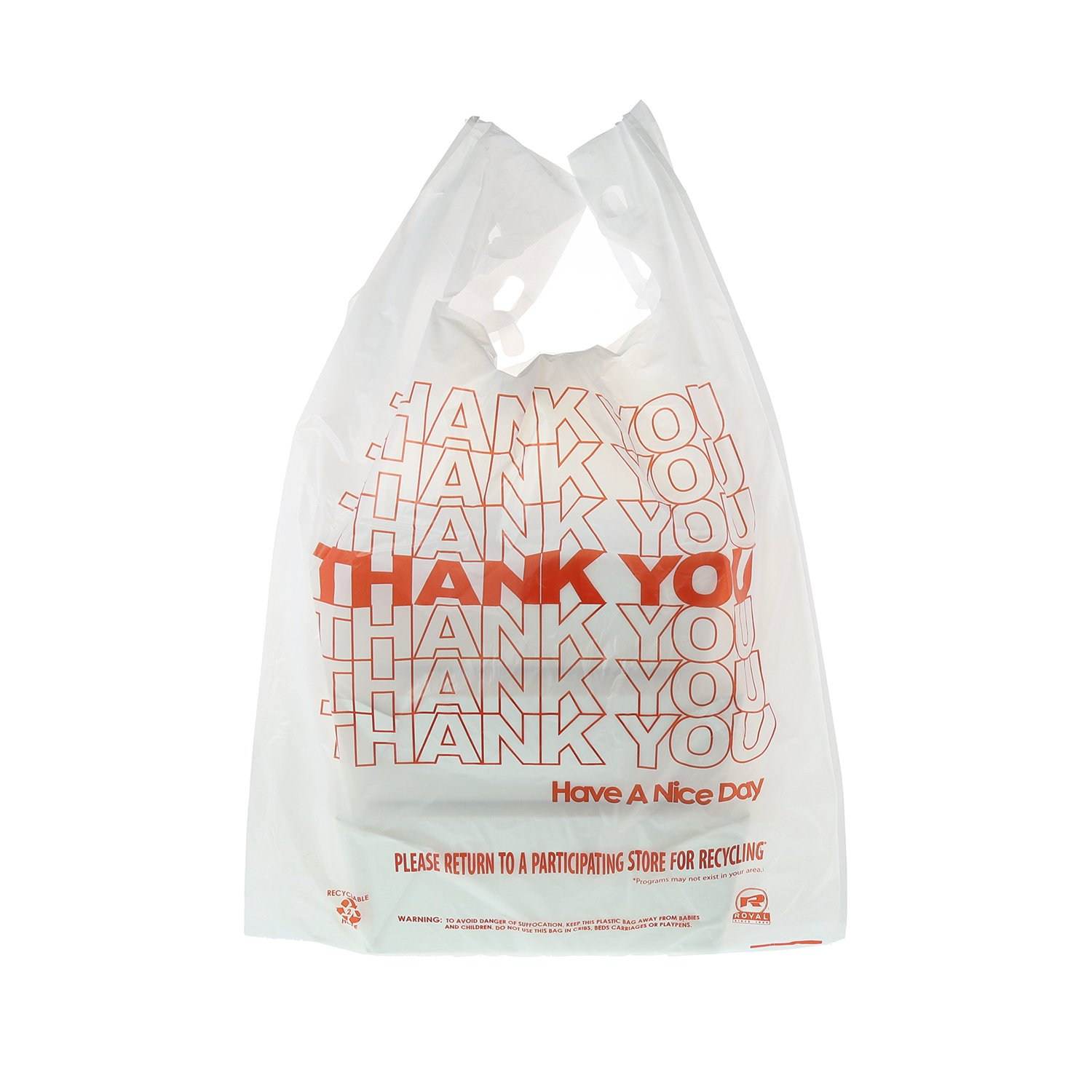 Royal Thank You Plastic Bag, 1/6, 13'' x 8'' x 23'', 14 Mic, Package of 1000