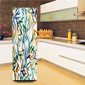 3D Traditional Decor Door Fridge Stickers Wall Mural, 23.6x70.8 Inch, Bamboo Leaves Self-Adhesive Door Wallpaper Murals Stickers Full Door Cover for Refrigerator
