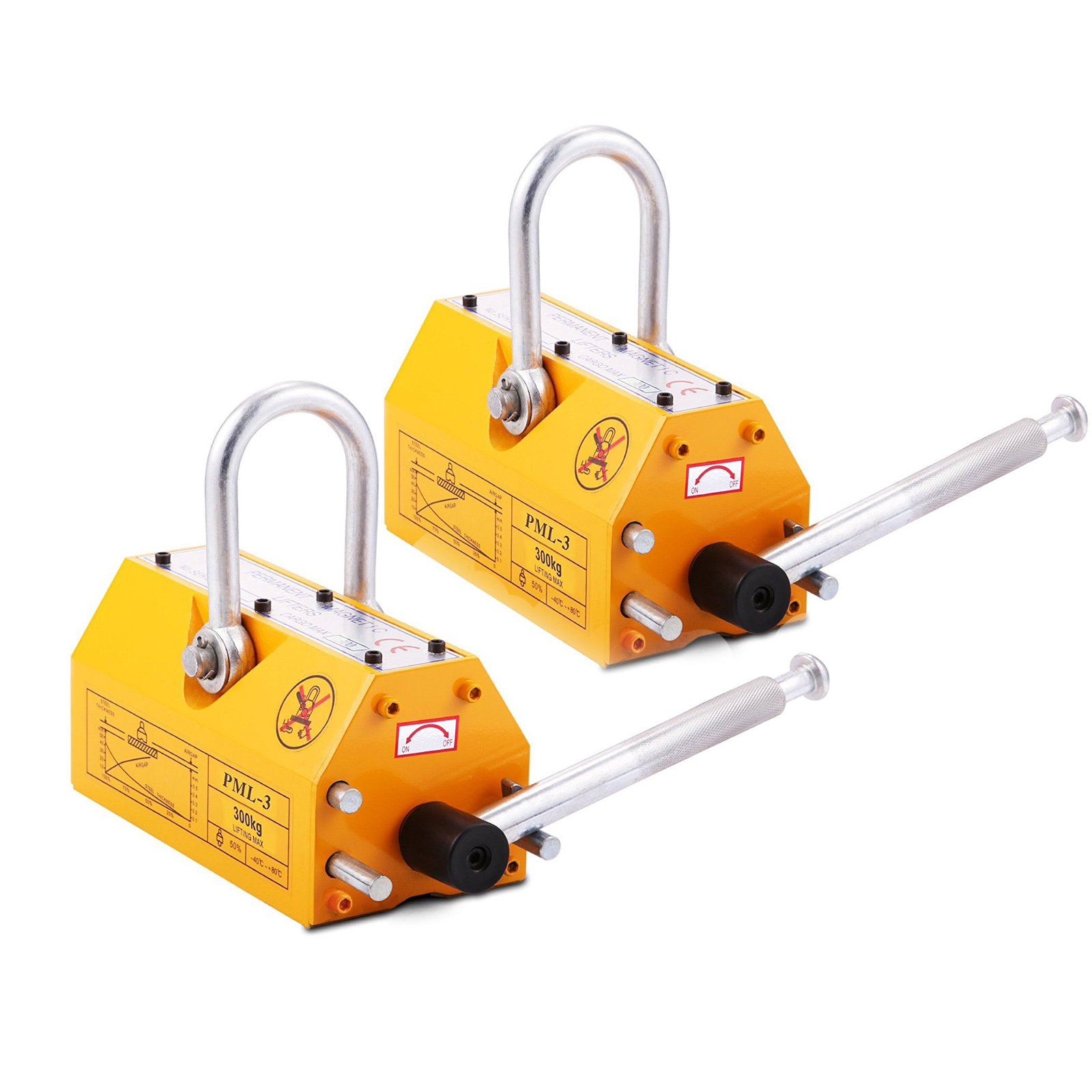 VEVOR 2PCS Steel Magnetic Lifter 660 LB Metal Lifting Magnet 300 KG 2PCS Neodymium Magnetic Lift Hoist Shop Crane (2PC)