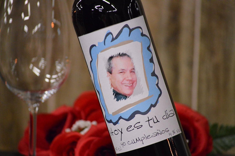 Botella vino personalizada con foto regalo para cumpleaños: Amazon.es: Alimentación y bebidas