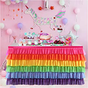 Tutu Table Skirt for Rectangle or Round Table Rainbow Chiffon Table Skirting for Party Baby Shower Wedding Birthday Decor (Rainbow, 9FT)