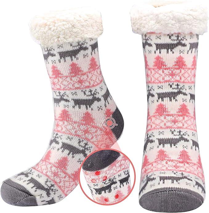 Women Fleece-Lined Cozy Winter Slipper Socks Non-Slip Fluffy Soft Warm Christmas