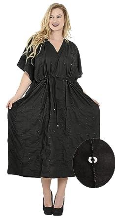 b6448fbaf56 La Leela Black V-Neck Sequin Embroidered Plus Size Long Kaftan ...