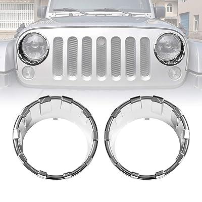 ICARS Triple Chrome Silver Front Headlight Trim Cover Bezels Pair Jeep Wrangler Rubicon Sahara Sport JK JKU Unlimited Accessories 2 door 4 door 2007-2020: Automotive