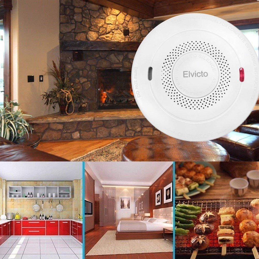 Elvicto Smoke Combination Photoelectric Smoke Carbon Monoxide Detector 10 Year Battery Operated, Travel Portable Fire and Co Alarm for Home, Kitchen