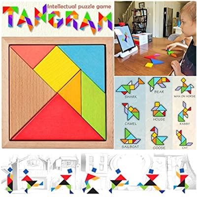7 Piece Puzzle Square Wooden Jigsaw Tangram Puzzle I.Q. Development Game Brain Teaser Intelligent Blocks Educational Toy Good Gift for Kids: Toys & Games