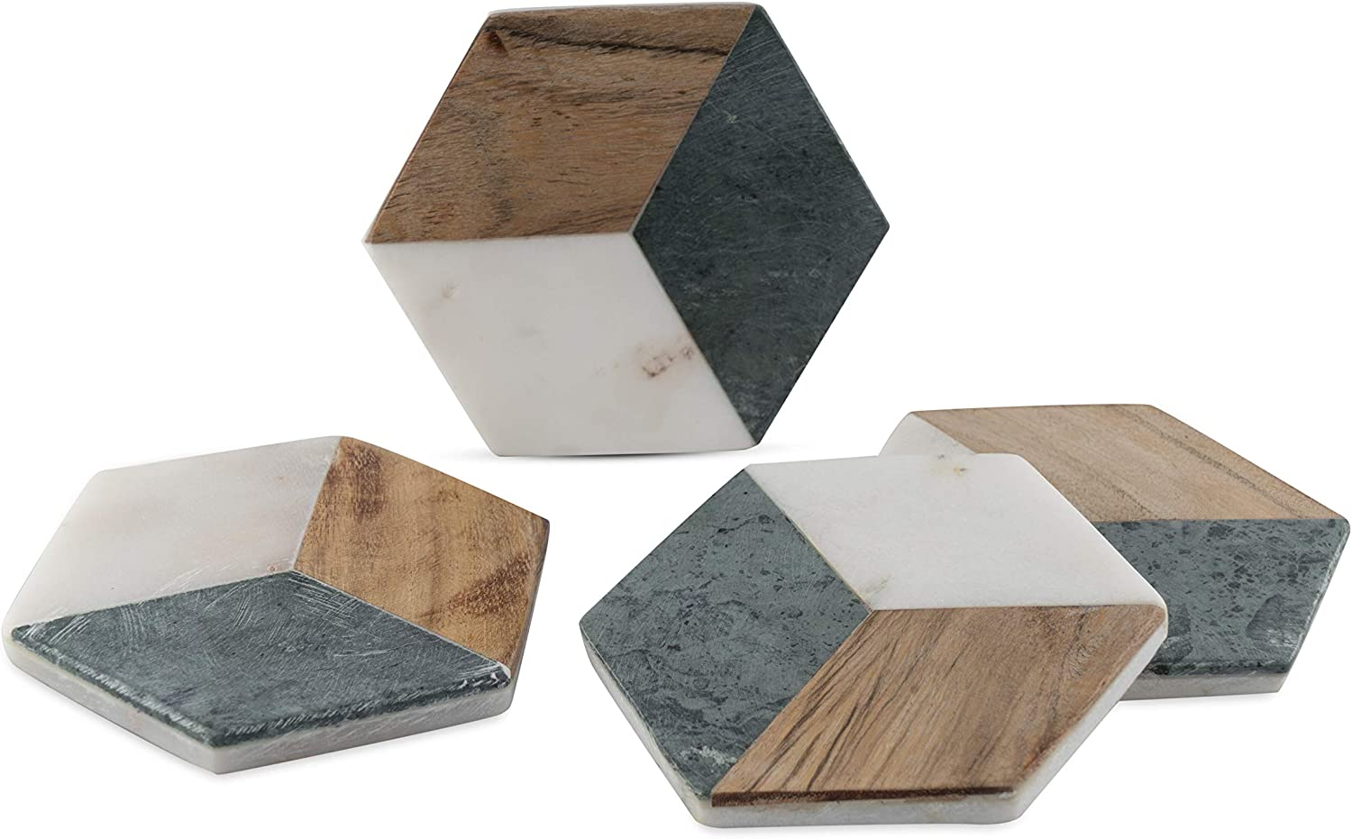 GoCraft Hexagon Geometric Coasters   Handcrafted Geometric Coasters with Green for your Drinks, Beverages & Wine/Bar Glasses   Green Marble & Wood Inlay on White Marble Base (Set of 4)