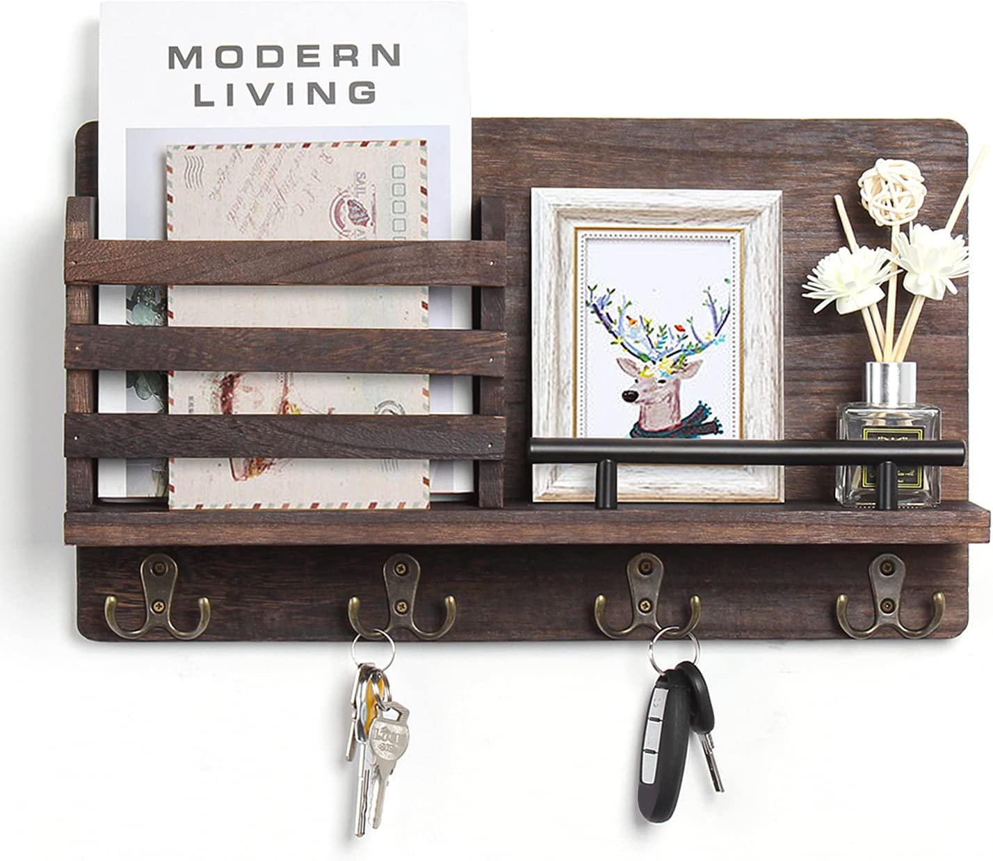 Mail Holder Organizer Wall Mounted Rustic Wood Mail Sorter with Key 8 Hooks