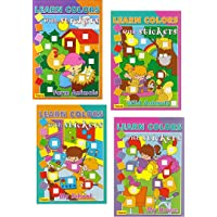 4 PACK Learn Colors with Stickers: Farm Animals, Wild Animals, My House, My School...
