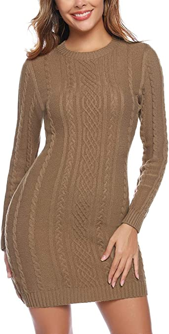 Robe-pull Femme En Maille Câble Tricot Pull Taille 10 To 16 Gris Marron